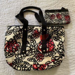 Coach Kyra Graffiti Poppy satin tote with wallet